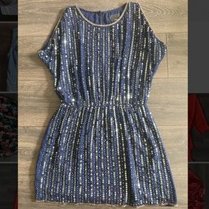 Greylin Gold Sequin Navy Blue NYE Dress!